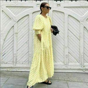 Zara yellow voluminous textured wavy long dress